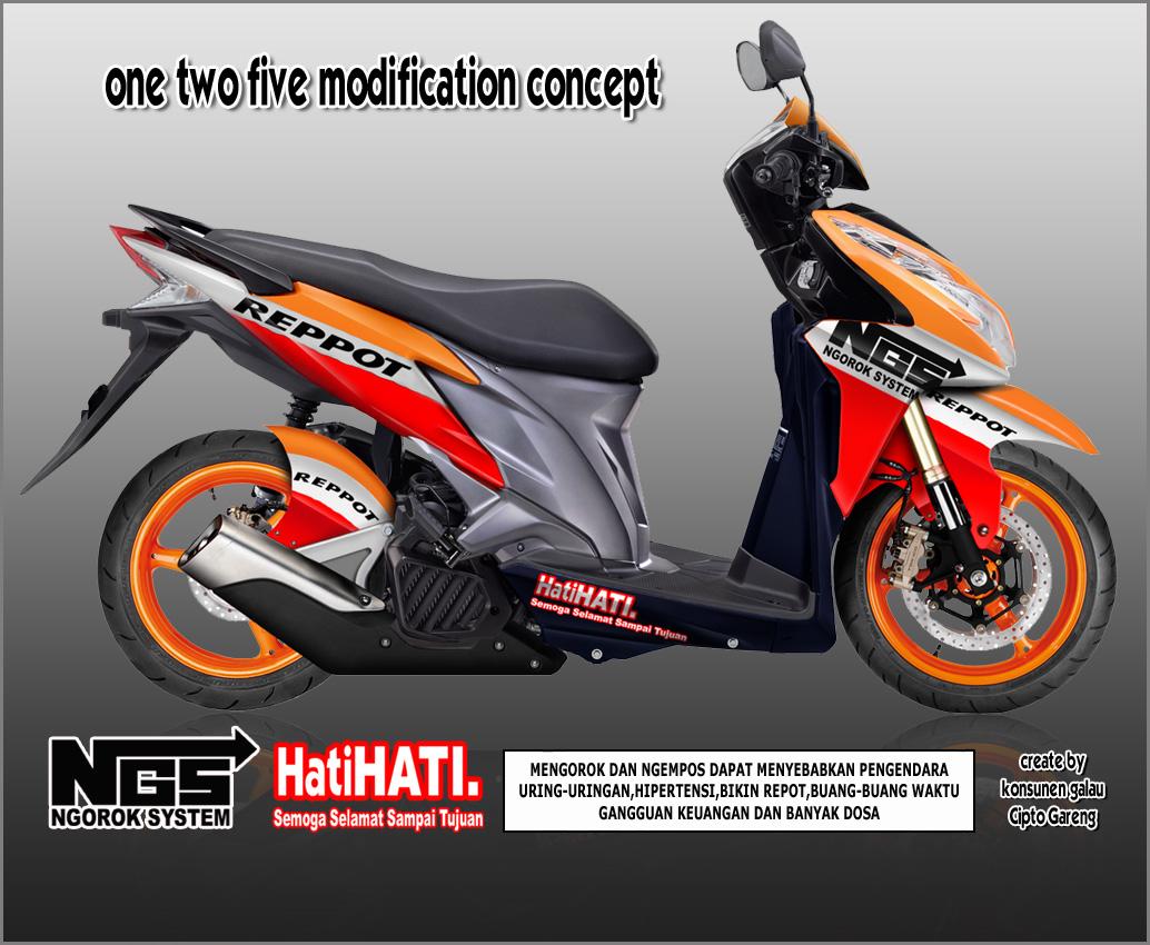 Modifikasi Vario Techno 125 Orange Kumpulan Modifikasi Motor Vario
