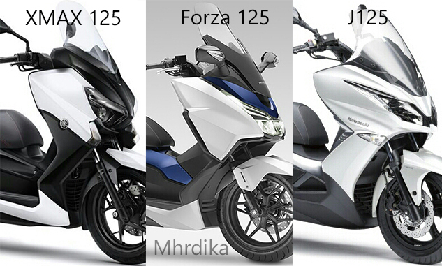 komparasi desain kawasaki j125 vs honda forza 125 vs yamaha x max 125 mhrdika. Black Bedroom Furniture Sets. Home Design Ideas